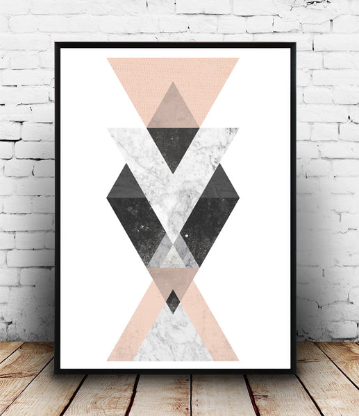 Pink and marble print, geometric abstract art, Scandinavian poster - Wallzilladesign