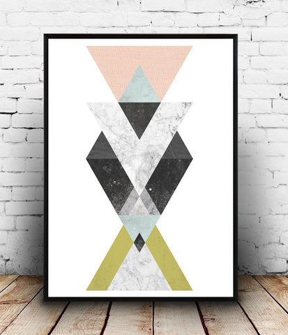Geometric abstract print, modern wall decor, minimalist art, watercolor decor - Wallzilladesign