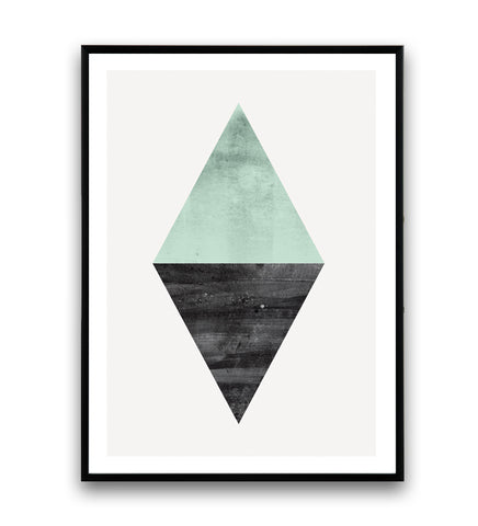 Geometric turquoise and black triangle shape print - Wallzilladesign