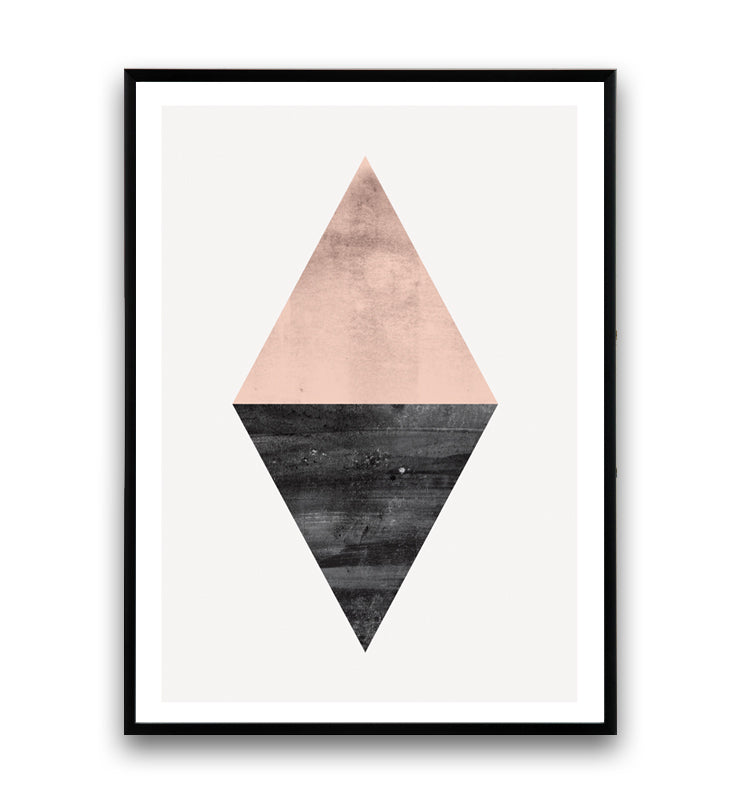 Geometric pink and black triangle abstract print - Wallzilladesign