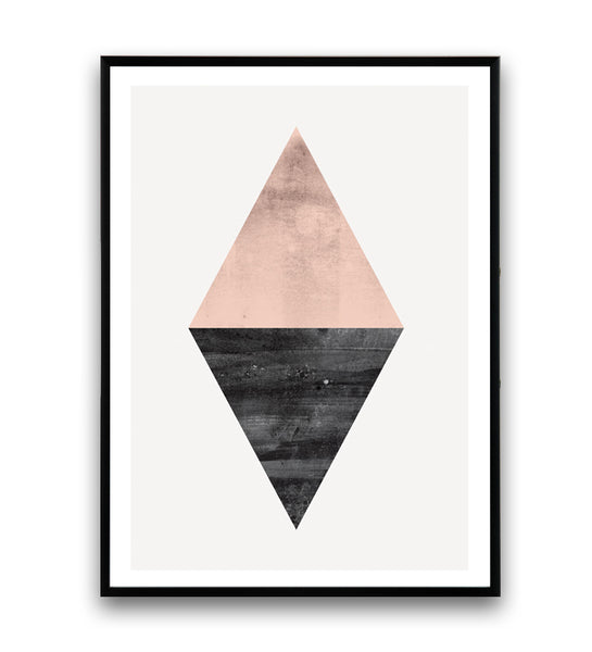 Geometric pink and black triangle abstract print