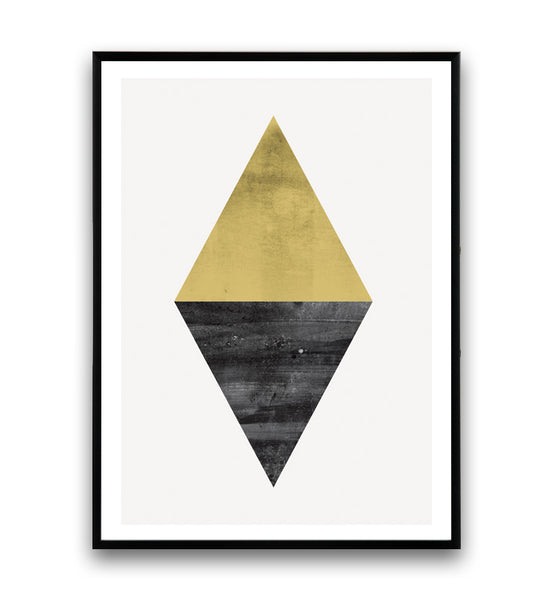 Abstract triangle shape in yellow and black - Wallzilladesign