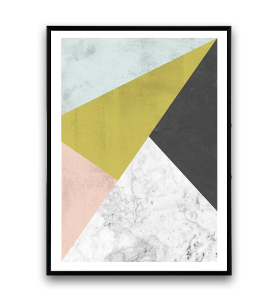 Abstract geometric composition with pastel tones and marble