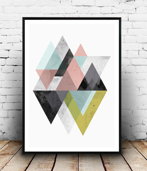 Geometric mountains art print in pink, blue and yellow-green