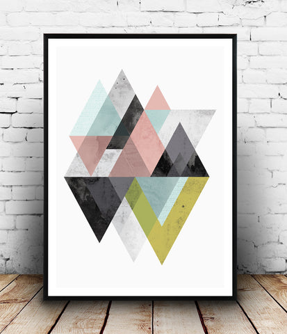 Geometric mountains art print in pink, blue and yellow-green - Wallzilladesign