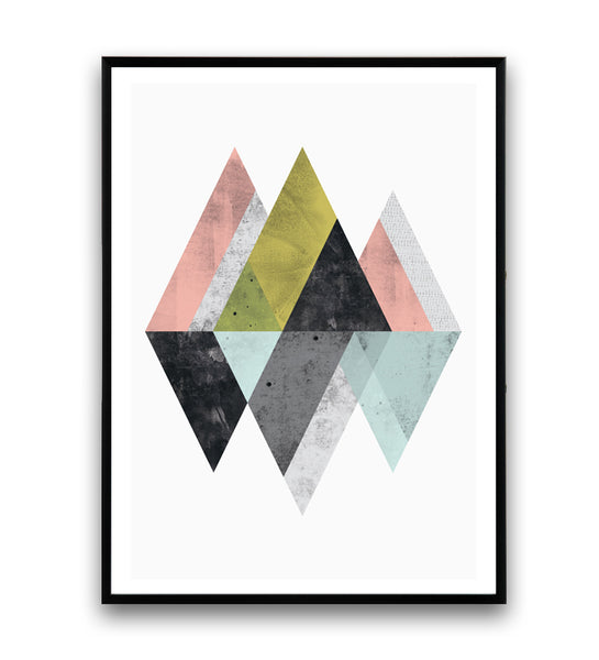 Mountains geometric abstract print in pastel colors - Wallzilladesign