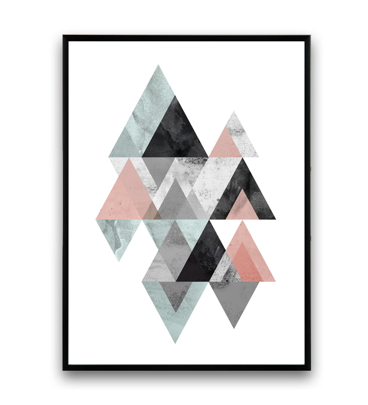 Geometric mountains print with pink and blue colors - Wallzilladesign
