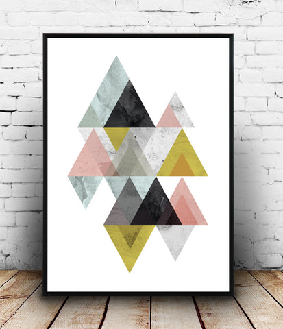 Geometric mountains print, abstract design poster, watercolor print