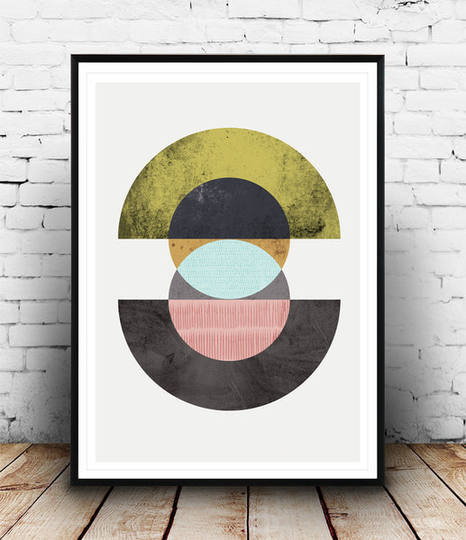 Abstract geometric circles composition - Wallzilladesign