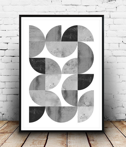 Black and white print, geometric abstract art, minimalist wall print, monochrome print