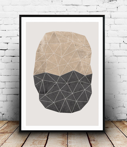 Nordic design geometric abstract print - polygon - Wallzilladesign