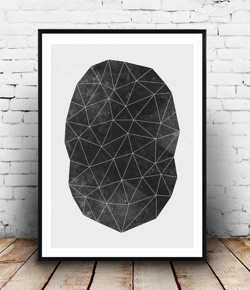 Polygon abstract geometric print, black and white wall art - Wallzilladesign