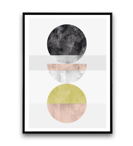 Watercolor circles abstract art print - Wallzilladesign