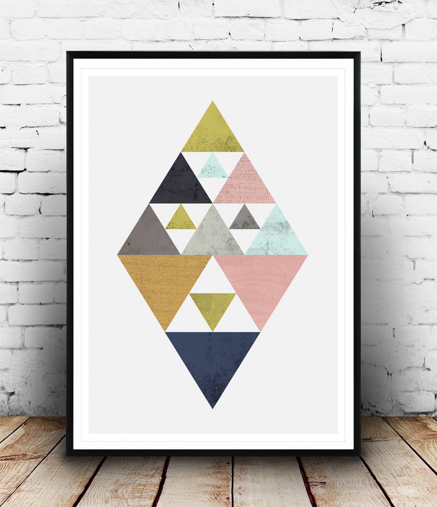 Abstract triangle geometric print - Wallzilladesign