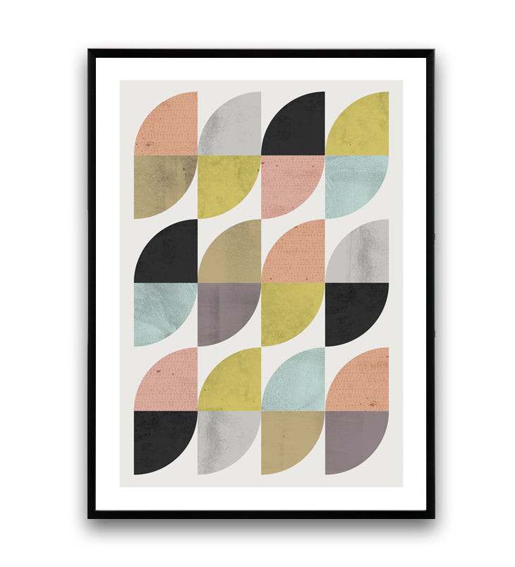 Mid-century modern inspired colorful geometric print - Wallzilladesign
