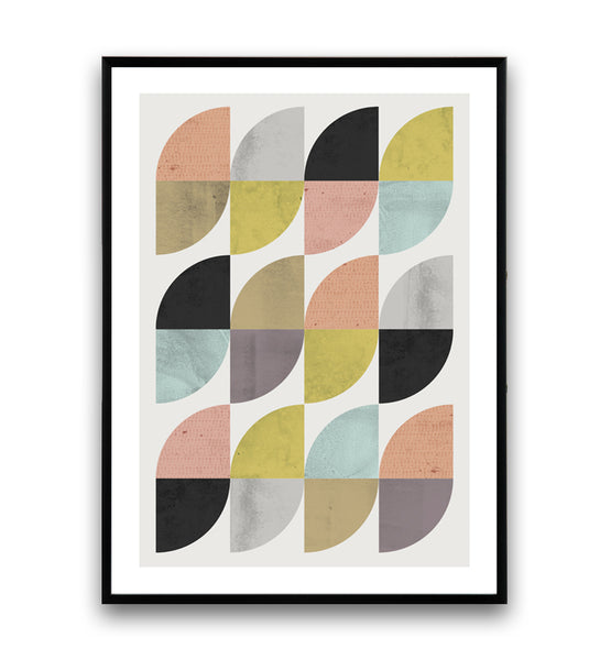 Mid-century modern inspired colorful geometric print