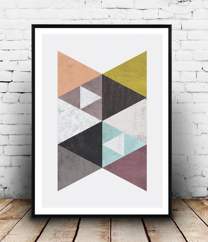 Nordic design wall decor print with watercolor textures - Wallzilladesign