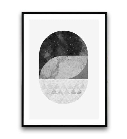 Minimalist black and white geometric print with marble texture - Wallzilladesign