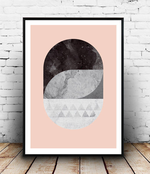 Geometric abstract print with marble texture and pink background - Wallzilladesign