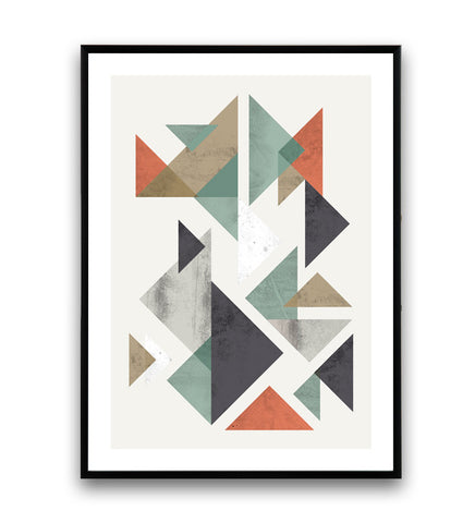 Geometric tangrams abstract print
