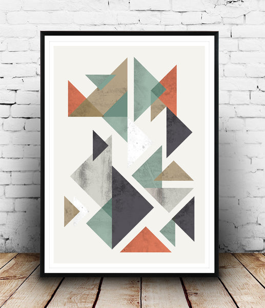 Minimalist print with colored tangram shapes and watercolor textures.