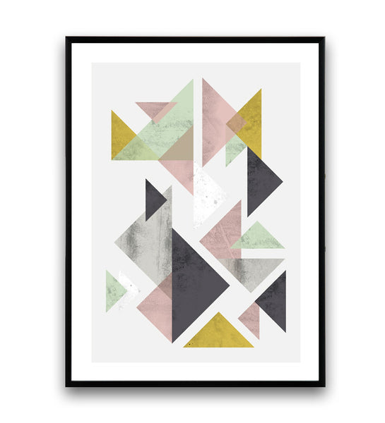Geometric abstract print in scandinavian style with watercolor textures.