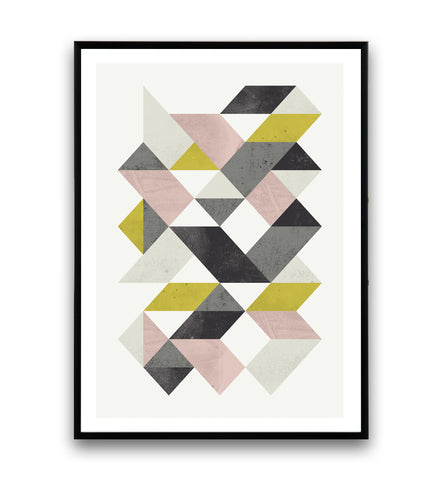 Geometric poster with abstract triangle shape - Wallzilladesign