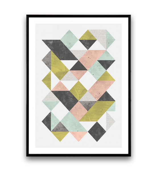 Geometric art print with pastel triangles  pattern - Wallzilladesign