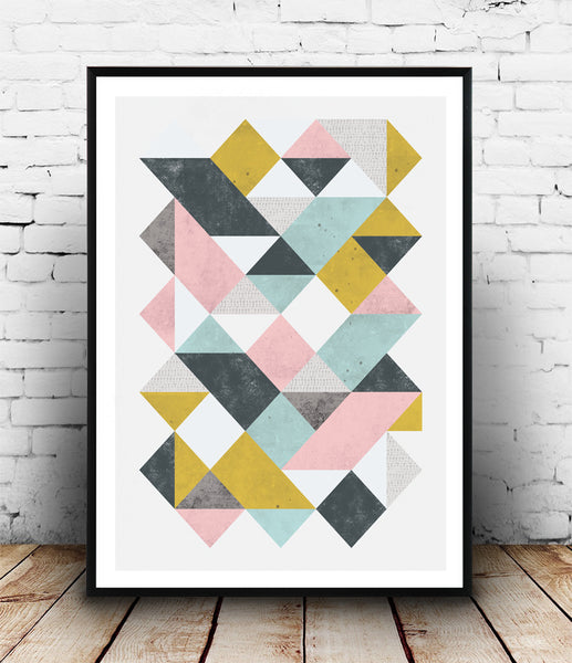 Pastel colored triangles abstract print - Wallzilladesign