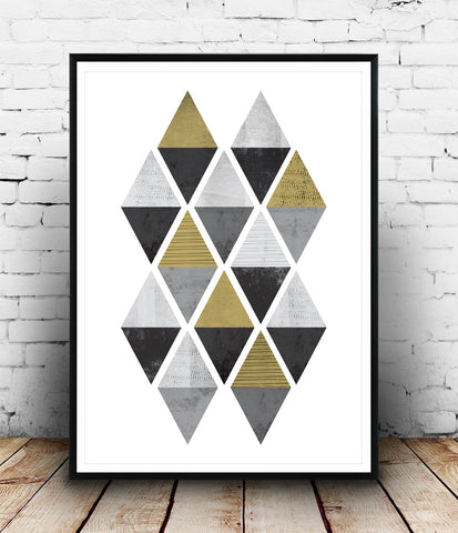 Black and white abstract print with gold accents