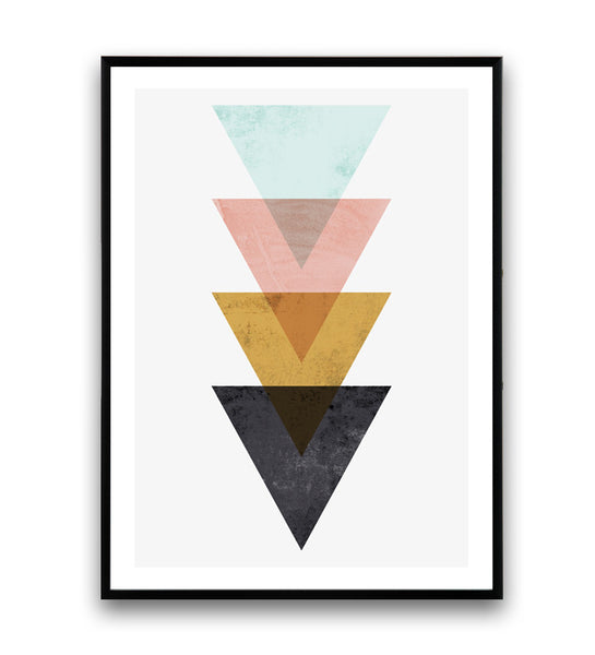 Triangle print, geometric design poster, home decor art, watercolor - Wallzilladesign