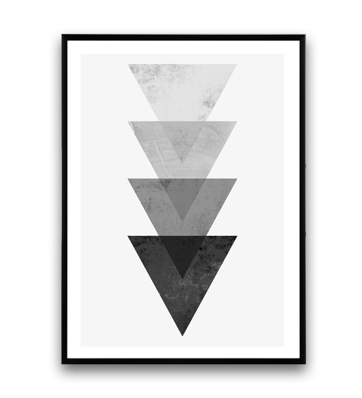 Geometric abstract triangle composition in black and white - Wallzilladesign