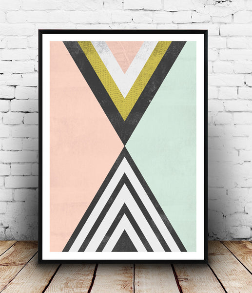 Geometric poster, abstract triangle print, watercolor art - Wallzilladesign