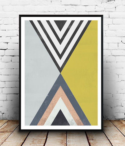 Abstract triangle print, watercolor art, geometric poster