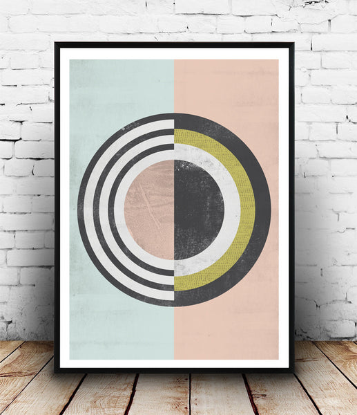 Geometric abstract poster with pastel colors - Wallzilladesign