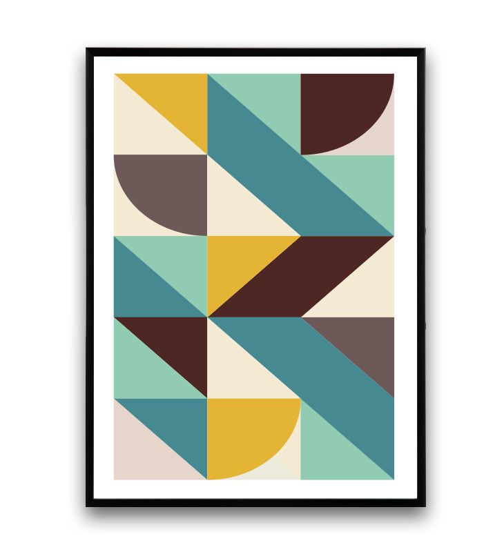 Geometric shapes poster with cool and yellow tones - Wallzilladesign