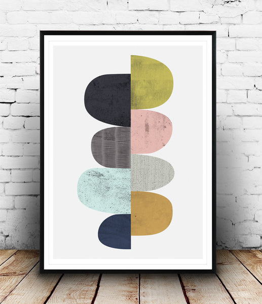 Colorful geometric abstract print, Scandinavian design - Wallzilladesign