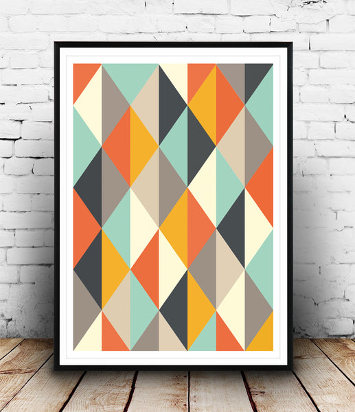Harlequin pattern with orange beige and turquoise colors
