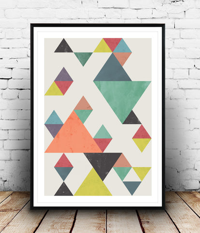 Falling triangles geometric print - Wallzilladesign