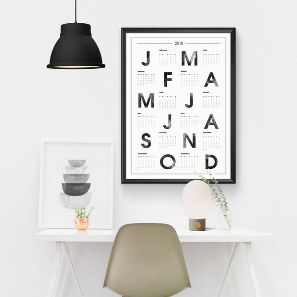 2018 typographic wall calendar print in Nordic style - Wallzilladesign