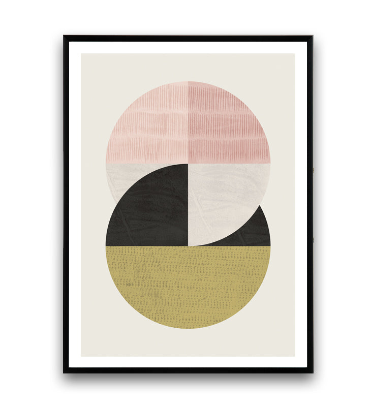 Circles print with muted pastel colors and ink pattern - Wallzilladesign