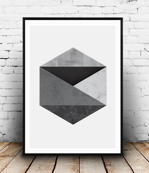 Monochrome abstract hexagon print - Wallzilladesign