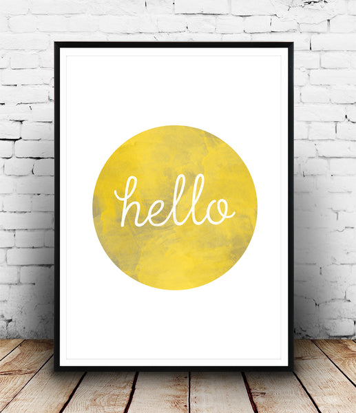 Hello quote print - yellow circle with a watercolor texture - Wallzilladesign
