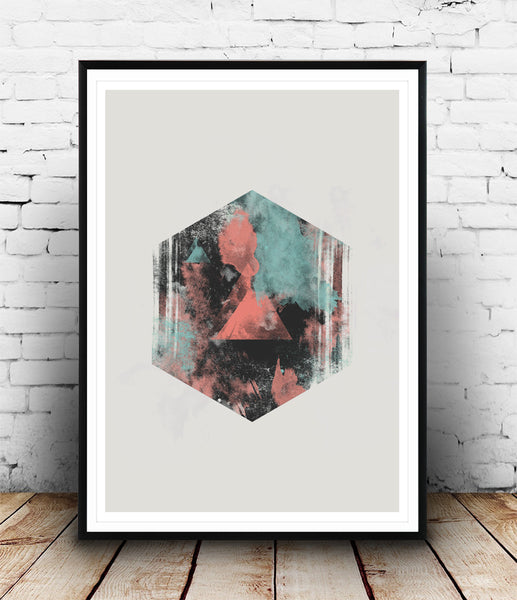 Hexagon abstract with watercolor brush strokes - Wallzilladesign