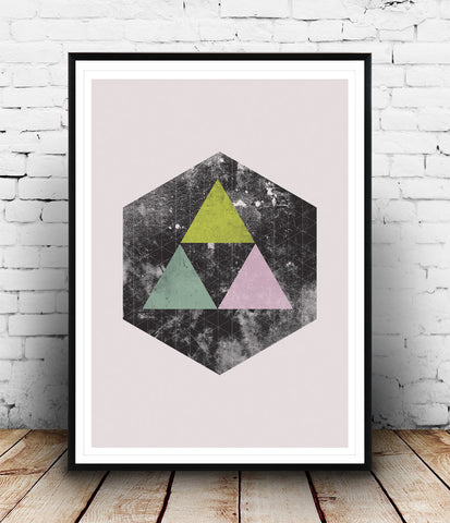 Watercolor hexagon object with colored triangles - Wallzilladesign