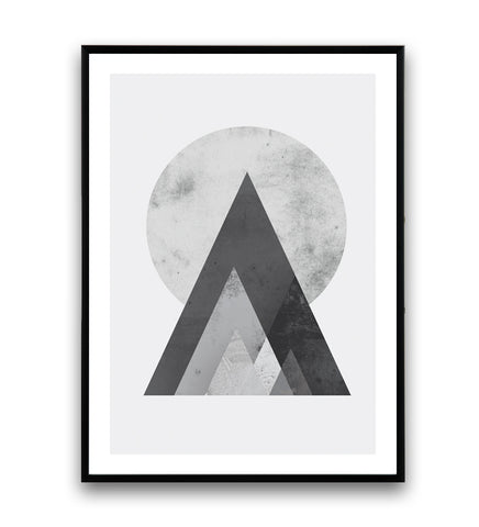 Sun and mountains in black and white print - Wallzilladesign