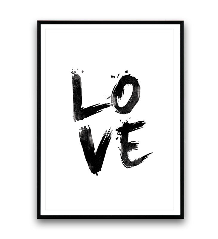 Love print handwritten letter print black and white art quote poster wallzilladesign