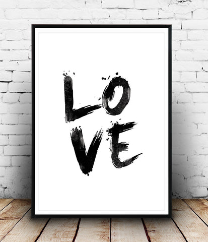 Love print, handwritten letter print, black and white art, quote poster