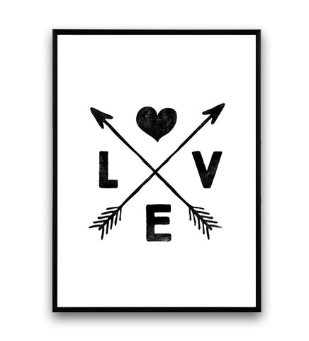 Boho chic decor, love art print, arrows print, black and white wall art - Wallzilladesign
