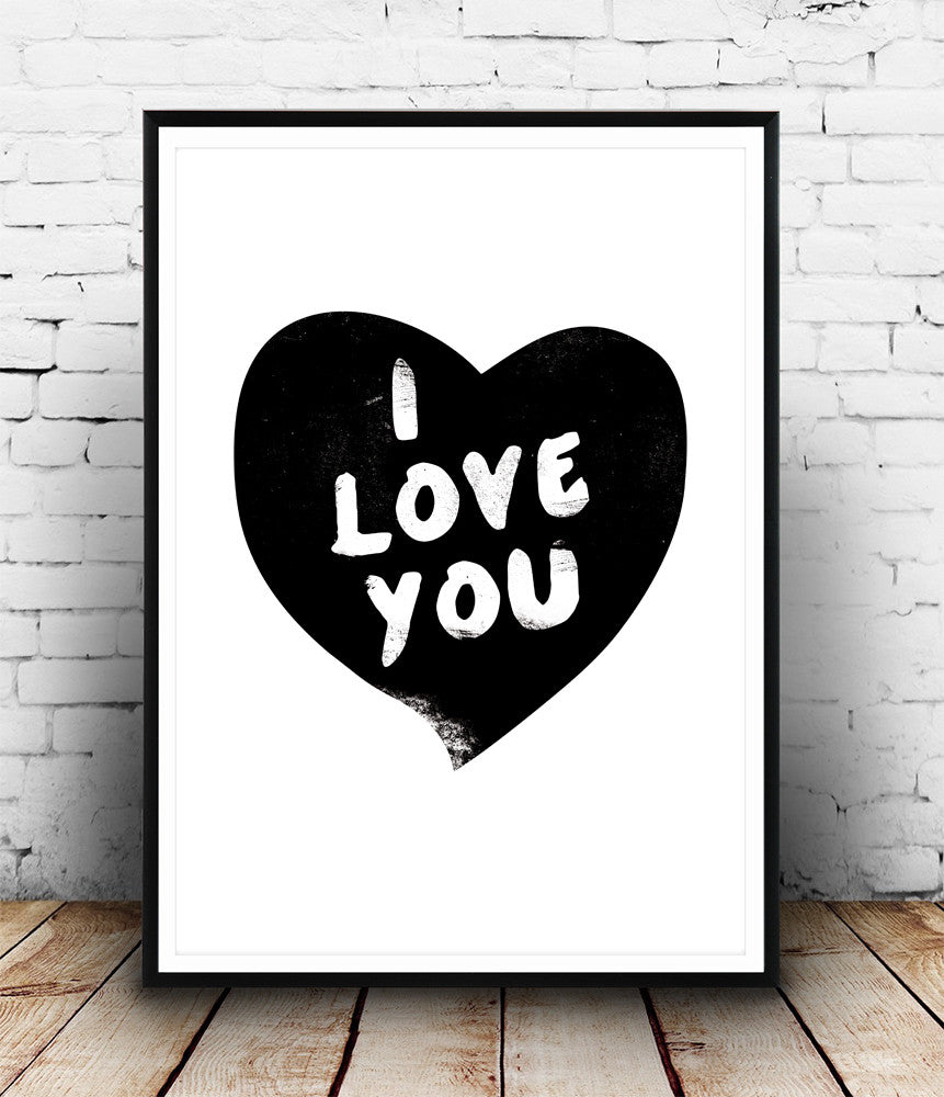 I love you print, heart art, quote prin, black and white wall art ...